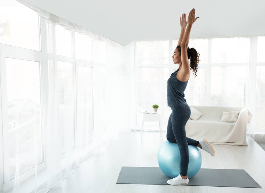 woman doing a home workout