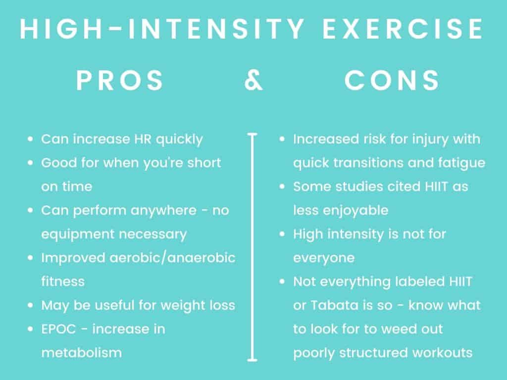 high intensity exercise pros and cons chart
