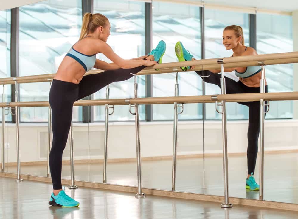woman in a barre fitness class low impact exercise