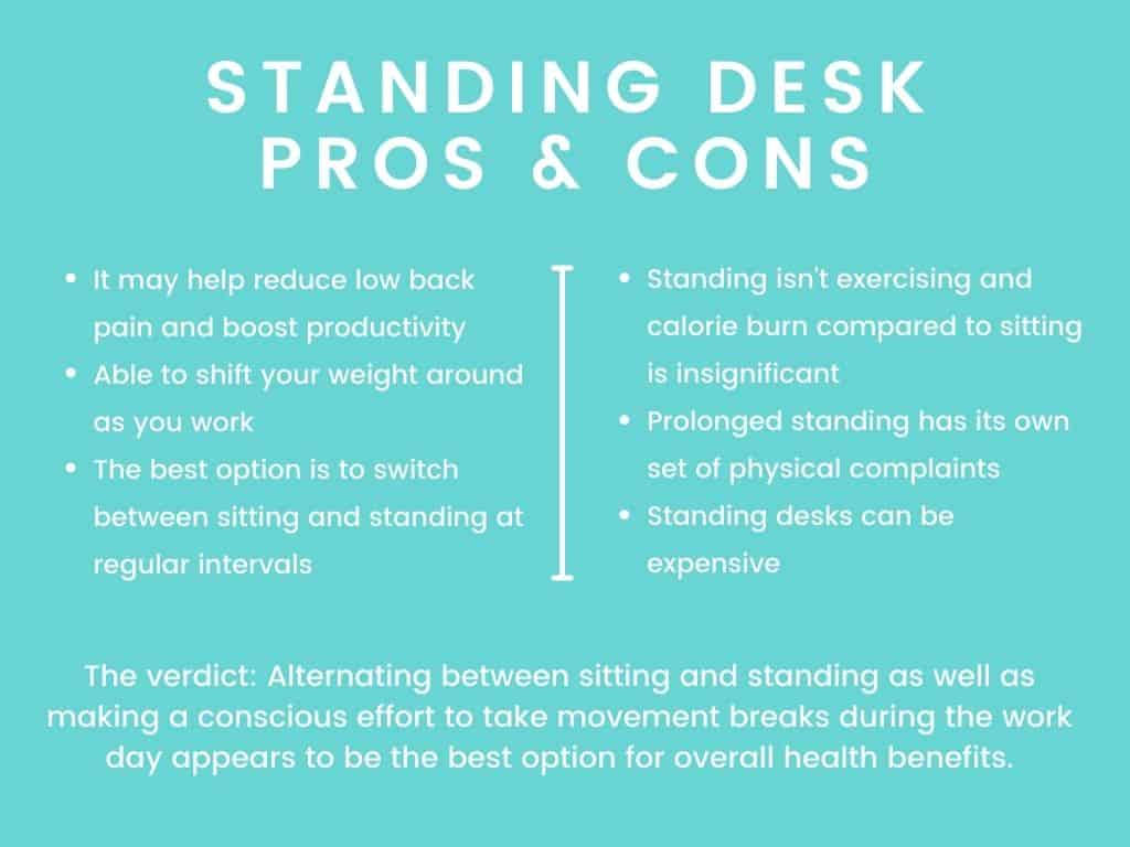 chart of standing desk pros and cons