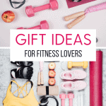 pinterest pin with pictures of multiple fitness accesories with text overlay gift ideas for fitness lovers