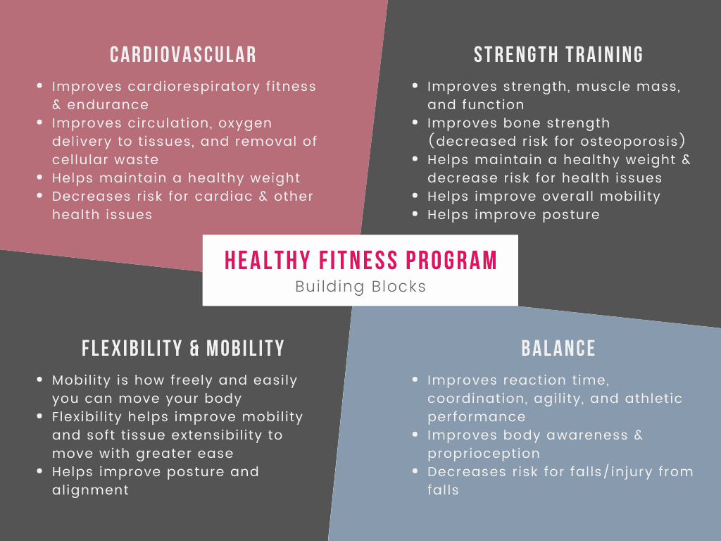 Chart illustrating the building blocks of a healthy fitness program to illustrate why it's important to be physically active.