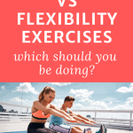 two people doing an outdoor workout stretching with text overlay mobility vs. flexibility exercises which should you be doing?