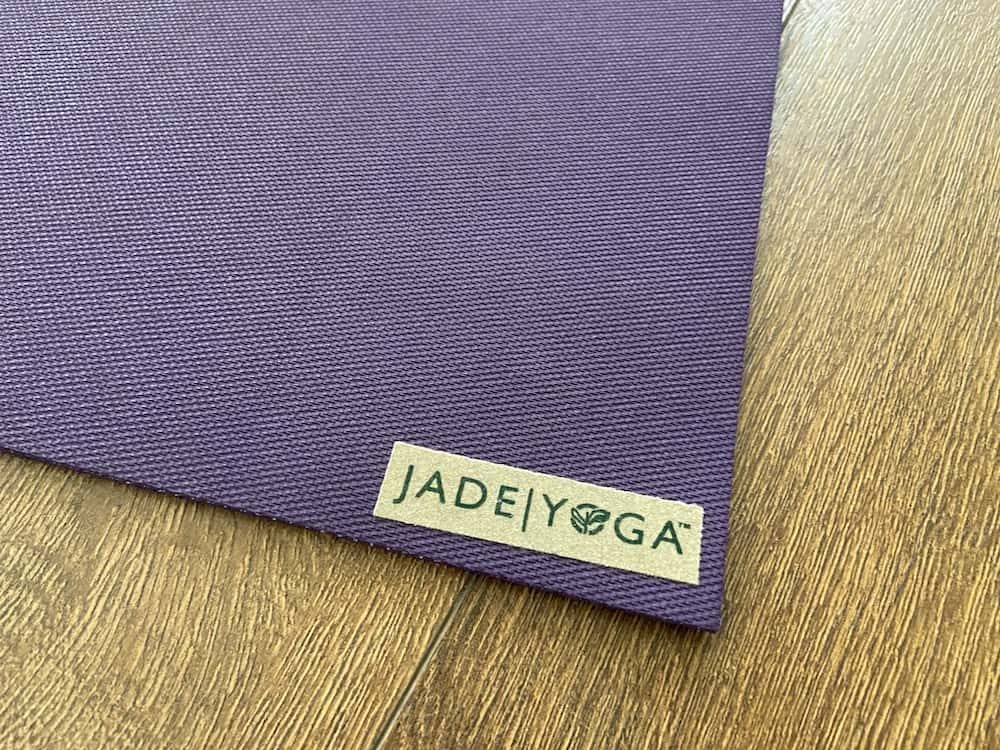 close up of the jade yoga mat to show the texture of the mat