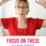 woman balancing a book on her head with text overlay focus on these 3 easy things for better posture