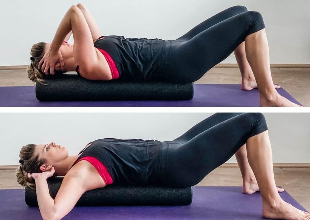 woman demonstrating shoulder mobility on a foam roller