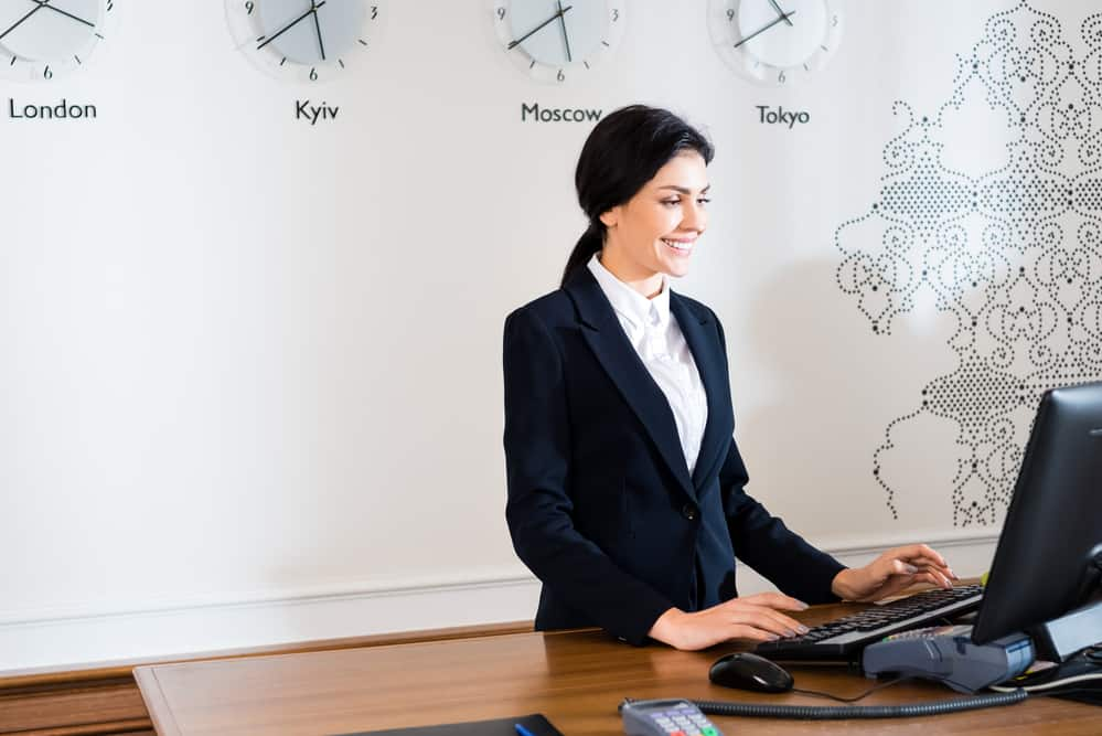 woman working at a standing desk