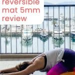 woman on a yoga mat with text overlay lululemon reversible mat 5mm review