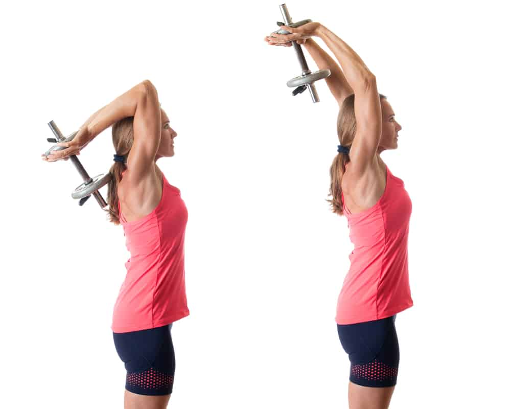 woman demonstrating an overhead triceps press