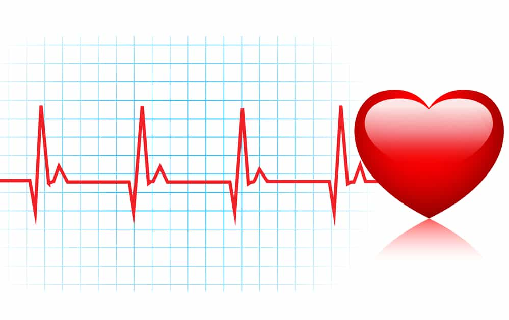 image of heart beat impulses and a heart