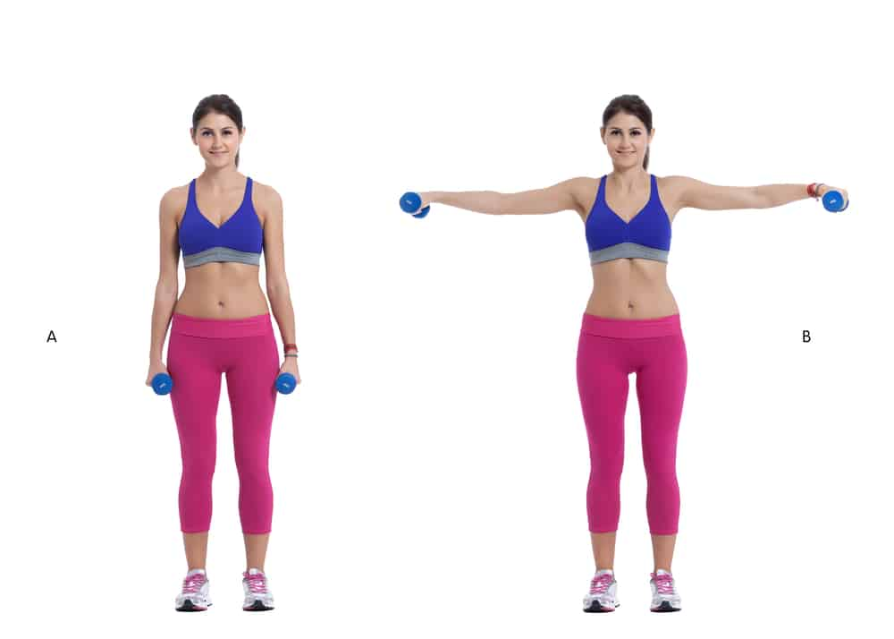 woman demonstrating a lateral raise exercises to avoid with a rotator cuff injury